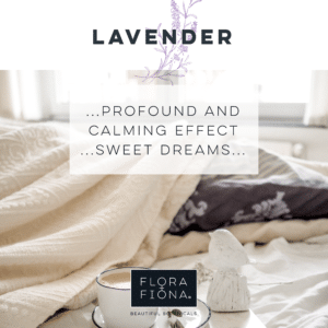 "A cappuccino coffee rests on a saucer on a bed surrounded by bedclothes. Superimposed text reads: ""Lavender: Profound and calming effect; sweet dreams"""