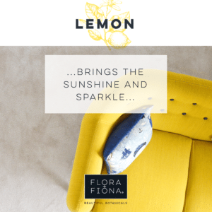 "Looking down on the corner of a bright yellow couch with a cushion in the crook between arm and backrest. Superimposed text reads ""Lemon: bring the sunshine and the sparkle"""