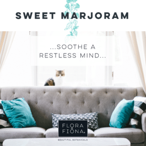 "A grey couch is overlooked by a white and tabby cat. Monochrome and turquise cushions are scattered on this couch. Superimposed Text reads: ""Sweet Marjoram: sooth a restless Mind."""