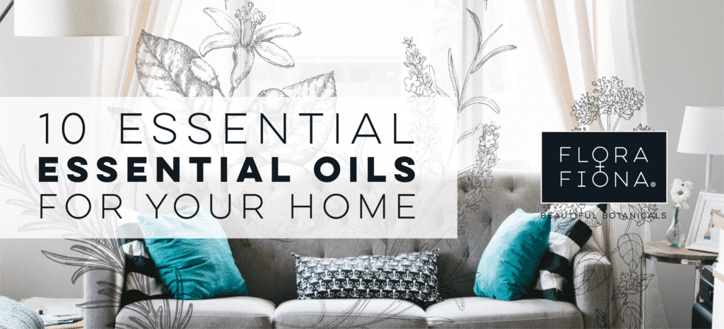 "A comfortable relaxing couch in a home with grey and turquoise tones. Superimposed text reads ""10 Essential Essential Oils for your home"""